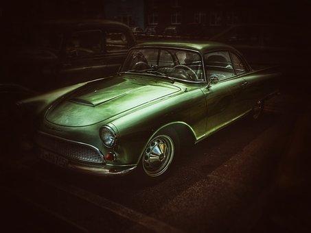 Auto, Oldtimer, Darkness, Night, Green