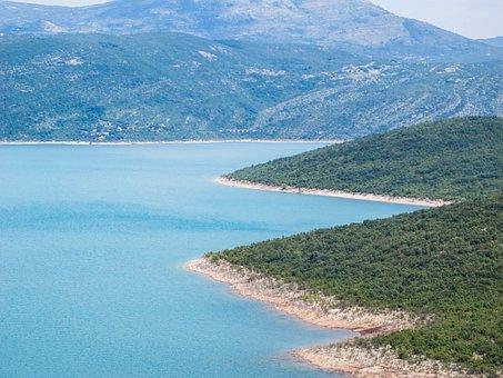 Lake, Blue, Sky, Nature, Bosnia, Eastern Europe