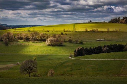 Landscape, Eifel, Germany, Dramatic Clouds, Field