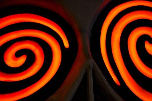 Crazy Eyes, Neon, Glowing, Swirl, Energy, Psychedelic