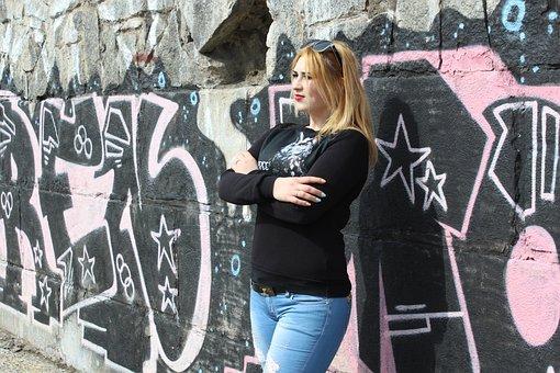 Girl, Graffiti, Photo, Stylish