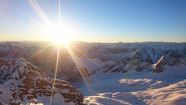 Sun, Sunrise, Zugspitze, Naut, Rays, Sky, Nature, Ski