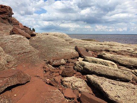 Rocks, Shore, Sky, Ocean, Seascape, Nature, Water