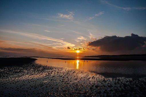 Wangerooge, Sunrise, Beach, North Sea, Morgenstimmung