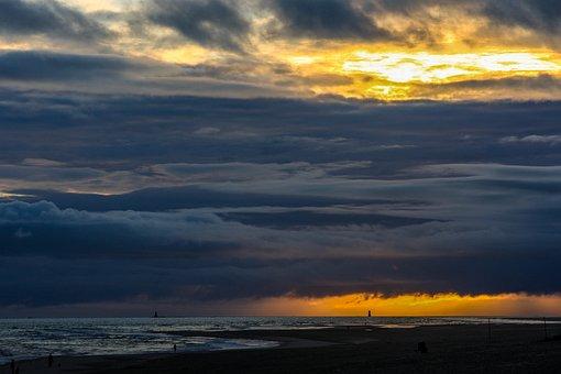 Wangerooge, North Sea, Lighthouse, Sunrise, Sky, Island