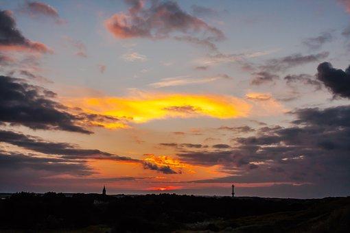 Sunset, Wangerooge, Island, West Tower, Sea, North Sea