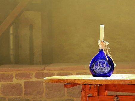 Bottle, Wine Bottle, Candle, Wax, Decoration, Glass