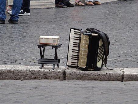 Navona, Piazza, Italy, Europe, Culture, Accordion, Rome