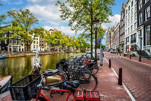 Amsterdam, Street, Canal, Bike, Bicycle, Travel