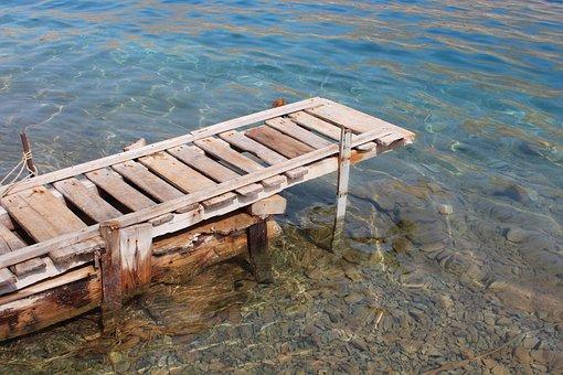 Jetty, Wood, Sea, Mediterranean, Pier, Water, Old, Blue