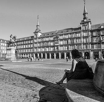 Plaza Mayor Madrid, Black White, City, Spain, Madrid