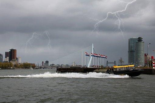 Rotterdam, Water, Erasmus Bridge, New Mesh, City, Mesh