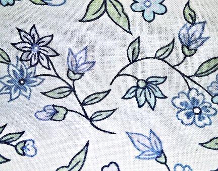 Fabric, Textile, Cotton, White, Flowering Vines