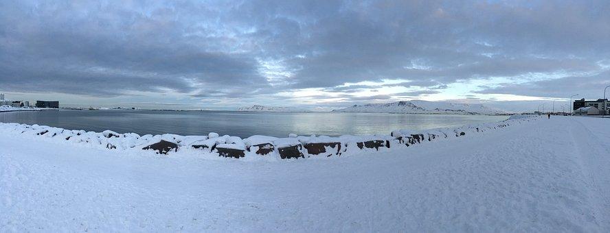 Iceland, Reykjavik, Faxa Bay, Skyline, Icelandic
