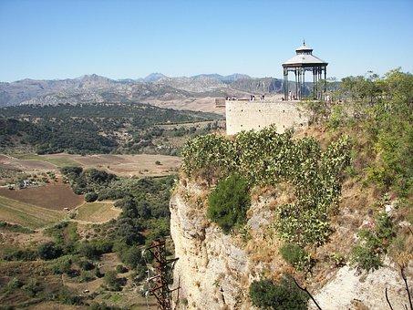 Ronda, Spain, Andalusia, Rock, Landscape, Pavilion