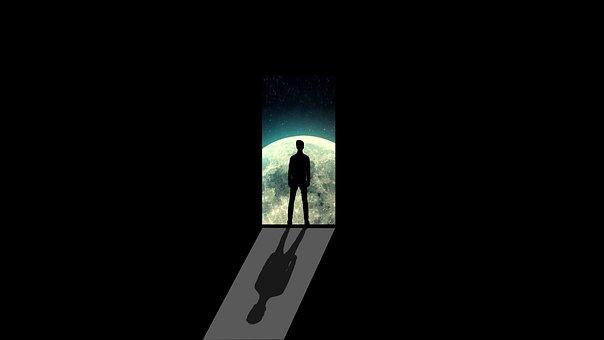 Moon, Man, Alone, Door, Path, Silhouette, Night, Dark