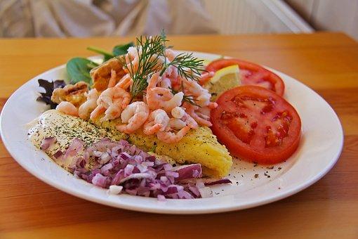 Lunch, Meal, Prawn, Lemon, Pancake, Tomato, Traditional