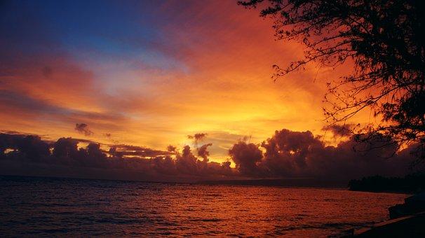 Sunrise, Hawaii, Landscape, Beach, Sunset, Ocean, Sea