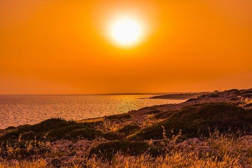 Sunset, Sea, Rocky Coast, Evening, Dusk, Nature, Orange