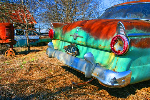 Old Car, Vivid, Retro, Car, Automobile, Vibrant, Paint