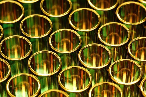 Gold, Tubes, Science, Research, Shiny, Background
