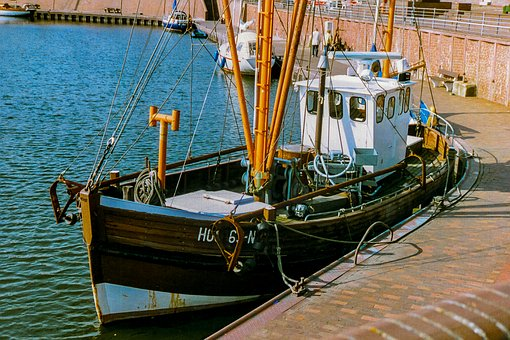 Ship, Trawler, North Sea, Hooksiel, Boat, Sea, Water