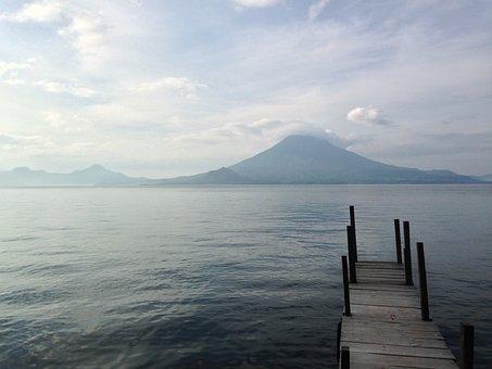 Lake Atitlan, Guatemala, Volcano, Dock