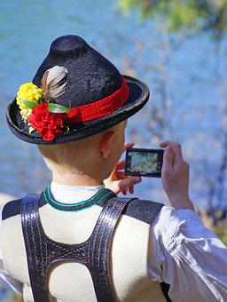 Uniform, Costume, Sarner, Child, Mobile Phone, Photo
