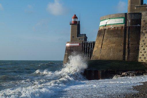 Surf, Lighthouse, Coast, France, Rocky Coast, Sea