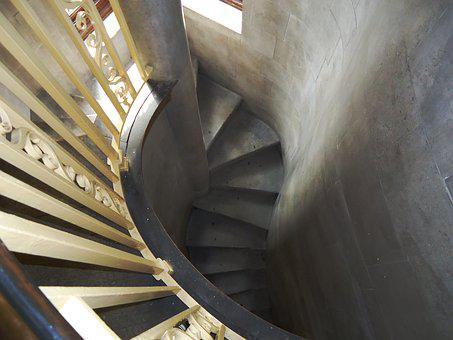Stairway, Old, Looking Down, Architecture, Stone, Steps