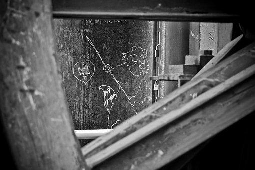 Graffiti, Old, Building, Leave, Factory, Industry