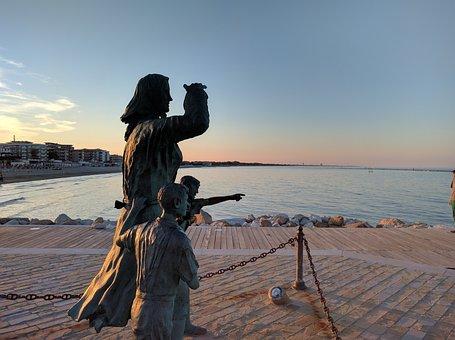 Cesenatico, Monument, Sea, Fishermen, Sunset, Water
