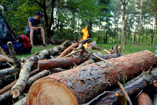 Man, Fire, Forest, Koster, Trees, Tent, Backpack