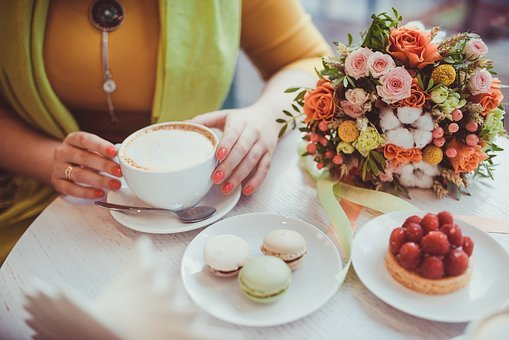 Girl, Woman, Hands, Bouquet, Flowers, Cake, Strawberry