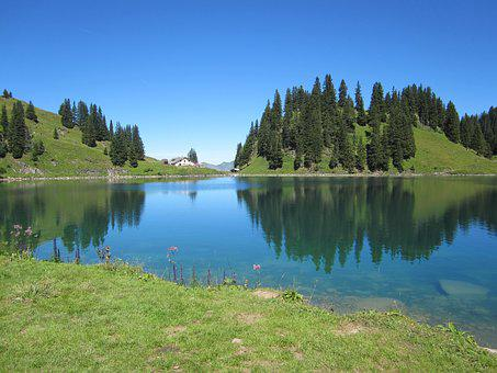 Lake Lioson, Lake, Mountains, Switzerland, Landscape