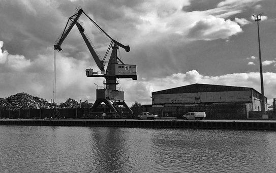 Industry, Industrial Area, Scrap, Crane, River