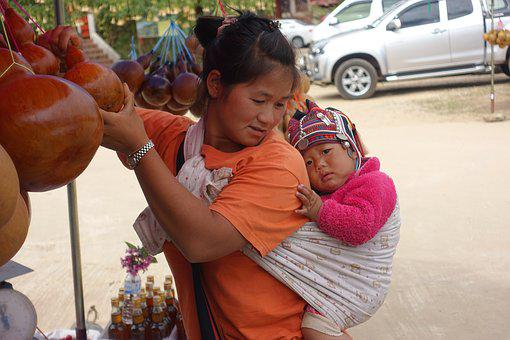 Thailand, Mother, Child, Affection, Sense Of Security
