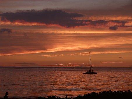 Maui, Sailboat, Sunset, Water, Sea, Hawaii