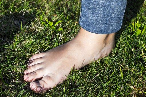 Foot, Lawn, Fingers, Barefoot, Walk Barefoot