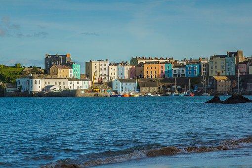 Port, Houses, Coast, Bay, Wales, Ocean, England