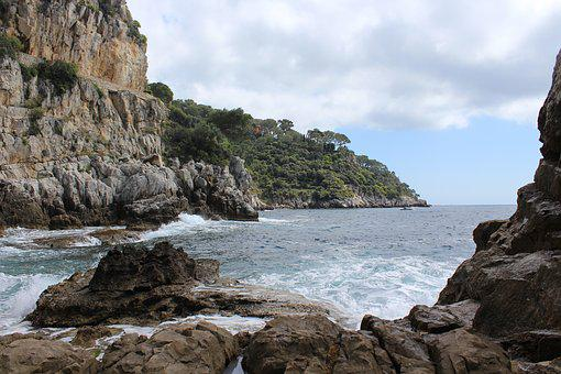 Cap Ferrat, Sea, Rock, Nature, Coastline, Cliff, Rocks