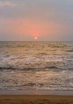 Sea, Sunset, Abendstimmung, Sun, Afterglow, Distant