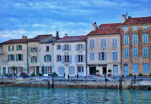 Port, Facade, House, Ile De Ré, France, Colorful Houses