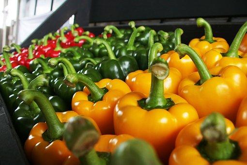 Paprika, Red, Green, Orange, Vegetable, Food, Healthy