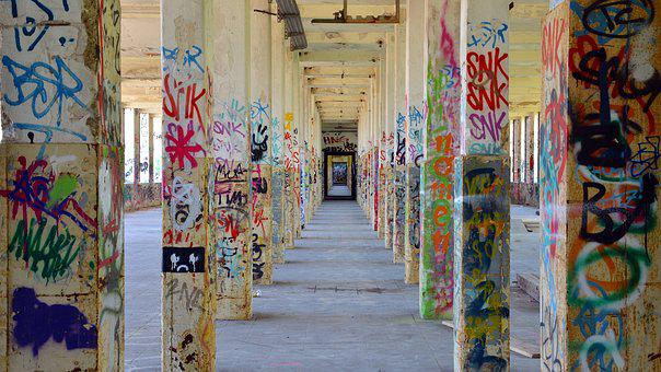 Lost Places, Ruin, Graffiti, Industrial Building, Leave