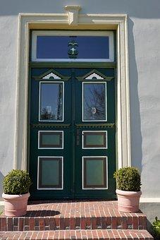 Entrance Door, Green, Door, Truss, Input, Idyllic