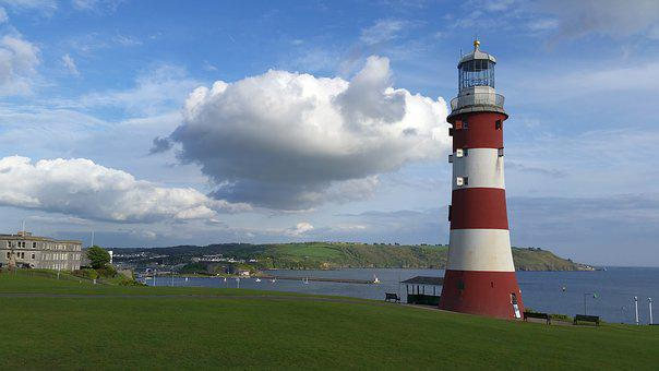 Lighthouse, Sea, Red, White, Port, Seafaring, Shipping