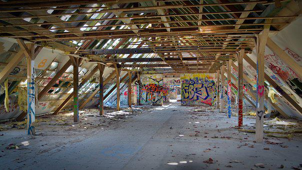 Lost Places, Ruin, Industrial Building, Leave, Graffiti