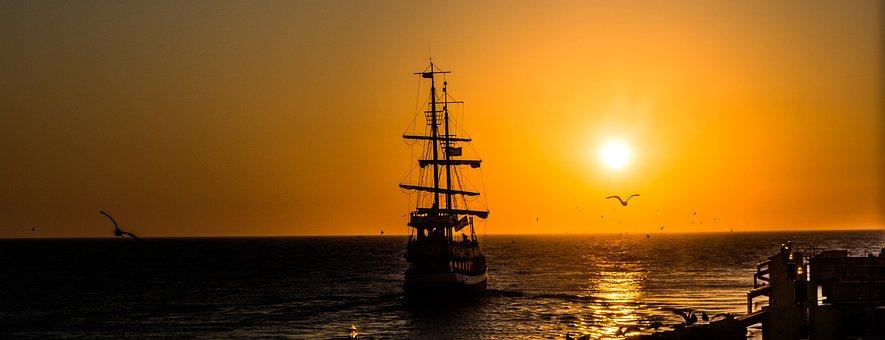 Ship, West, The Sun, Sea, The Coast, The Baltic Sea