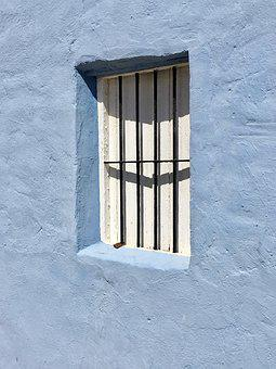 Blue, Wall, Window, Bars, House, Architecture